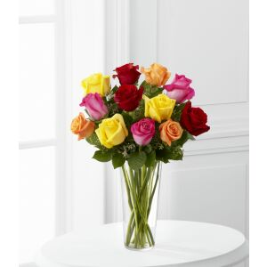 The Bright Spark Rose Bouquet by FTD - VASE INCLUDED